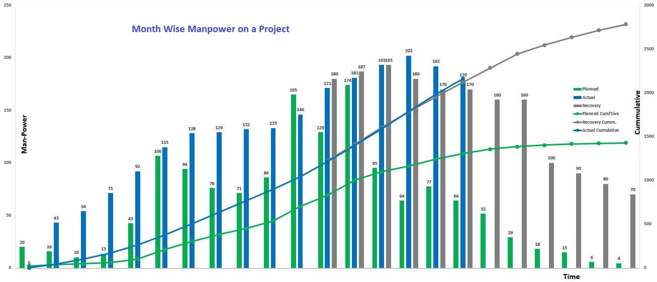 Manpower Histogram for a Project including S curves