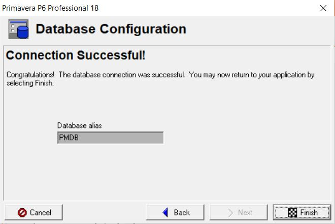 Connection Successful!! in Database Configuration. Hit Finish