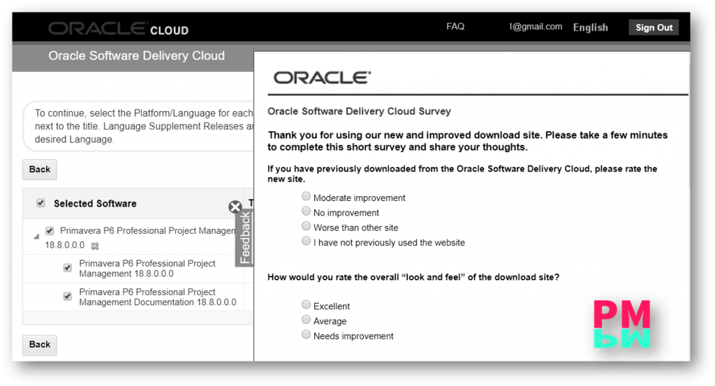 Oracle Feedback for primavera p6 downloading