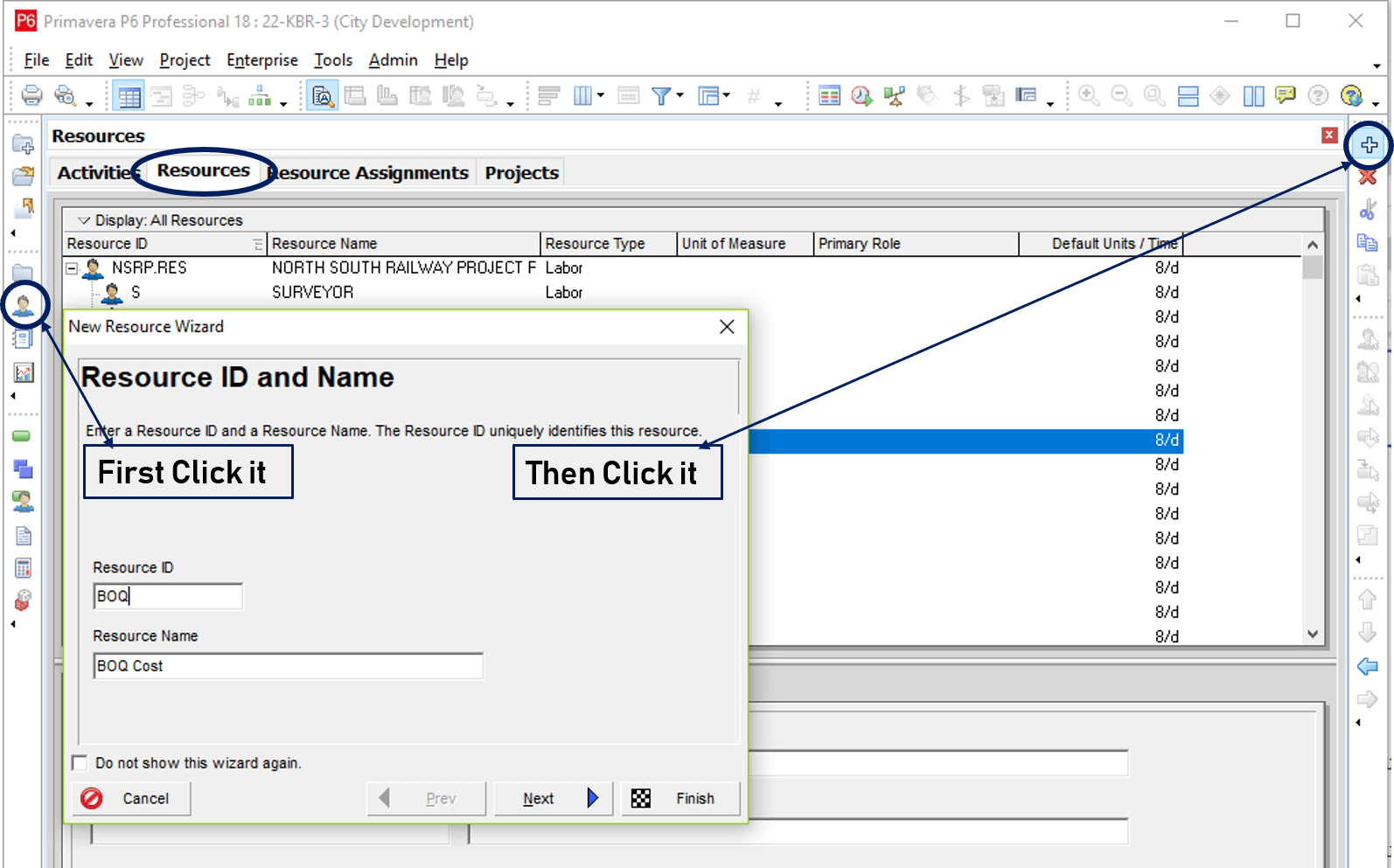 How to add resources in Primavera P6
