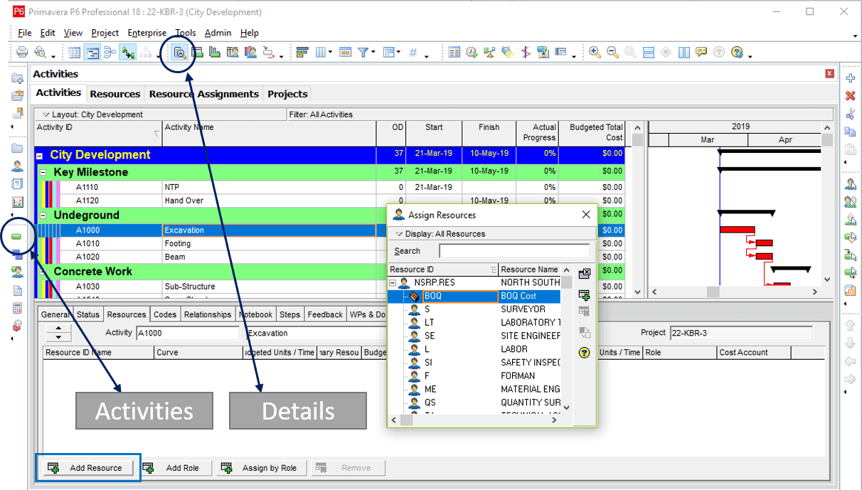 How to Add Resources & Cost in Primavera P6