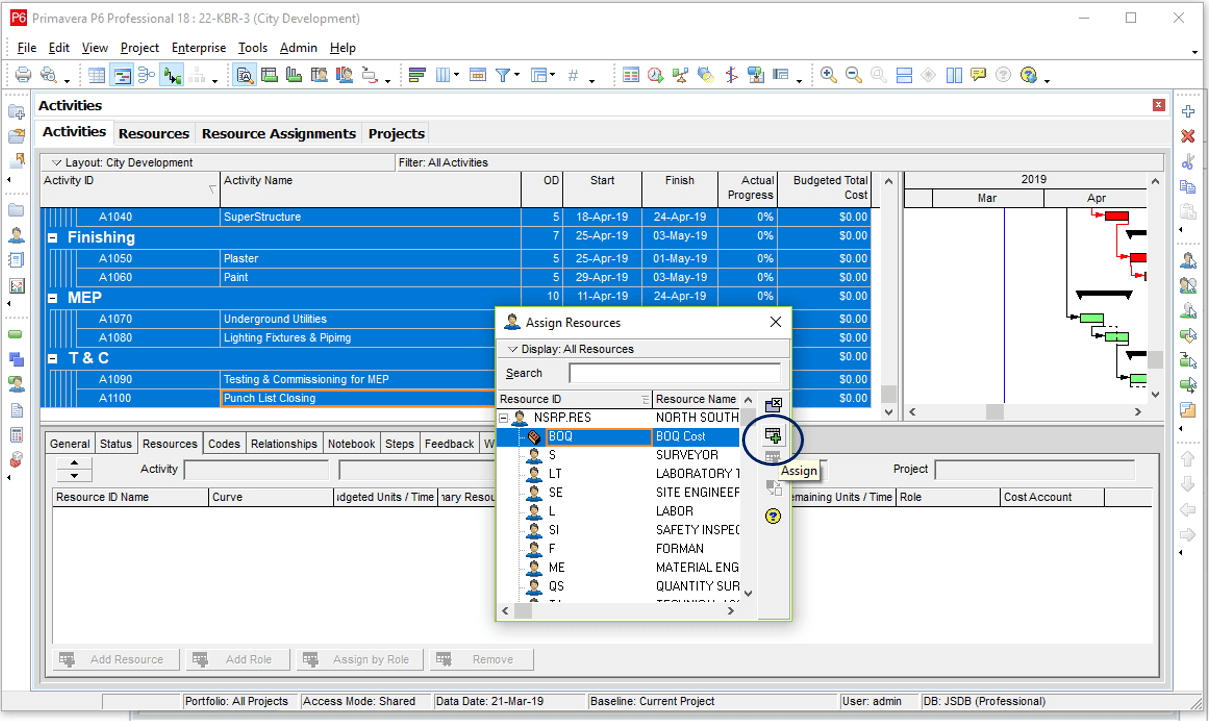 How to Apply Resources & Cost in Primavera P6