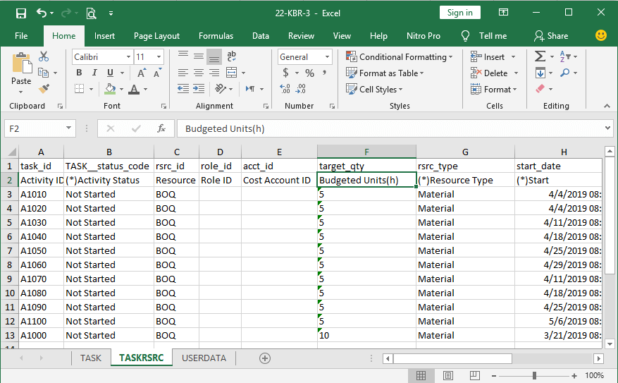 Import and exporting of Resources in Excel