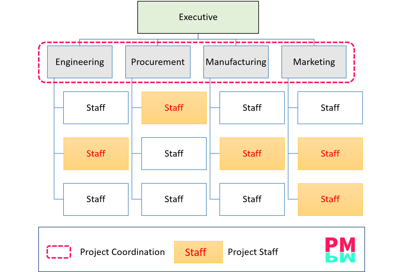 Functional Organizations Structure All departments gives input to the projects