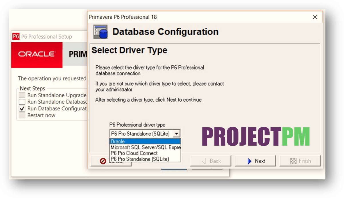 From Drive type select oracle