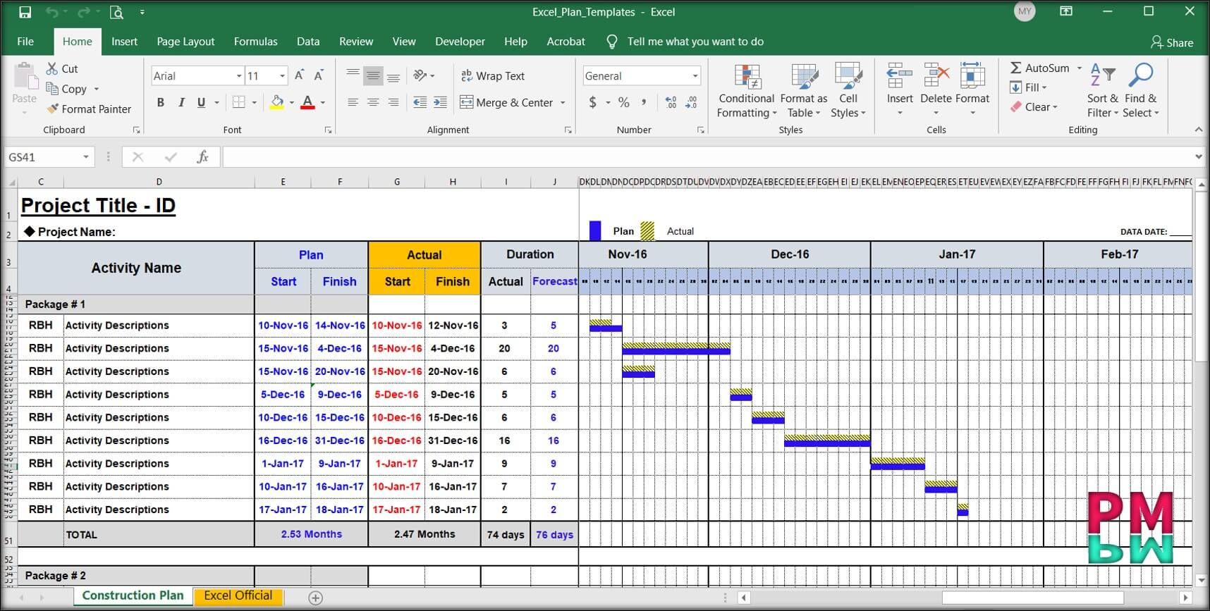 Real Life Project Gantt Chart on MS Excel