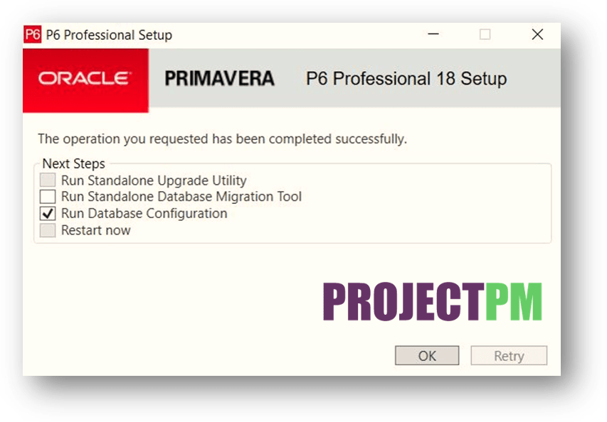 Select Run Data base Configuration-min